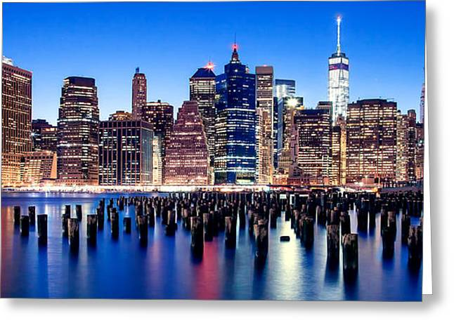 Famous Bridge Greeting Cards - Sunset Over Manhattan Greeting Card by Az Jackson