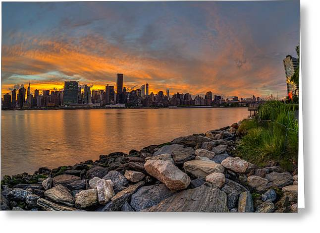 Reflections Of Sky In Water Greeting Cards - Sunset Over Manhattan Skyline, Gantry Greeting Card by F. M. Kearney