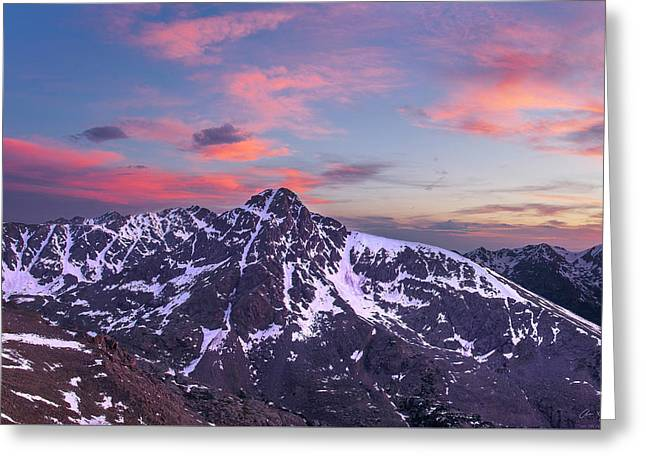 Snowy Evening Greeting Cards - Sunset over Mt. of the Holy Cross Greeting Card by Aaron Spong