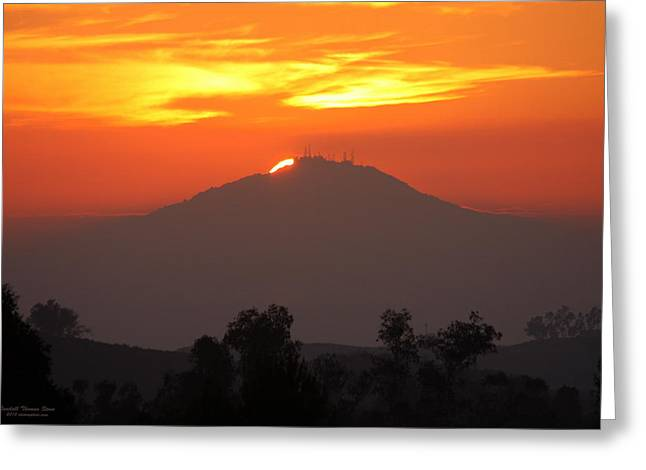 Woodson Greeting Cards - Sunset over Mt. Woodson Greeting Card by Randall Thomas Stone