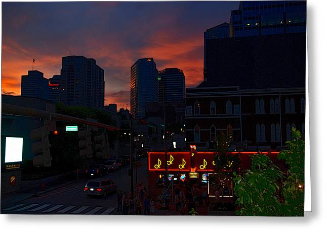 Glass Facades Greeting Cards - Sunset over Nashville Greeting Card by Susanne Van Hulst