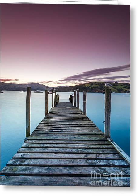 Sunset Prints Greeting Cards - Sunset over pier - Akaroa - New Zealand Greeting Card by Matteo Colombo