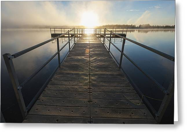 Reflections Of Sun In Water Greeting Cards - Sunset Over Pier At Chena Lakes Greeting Card by Remsberg Inc