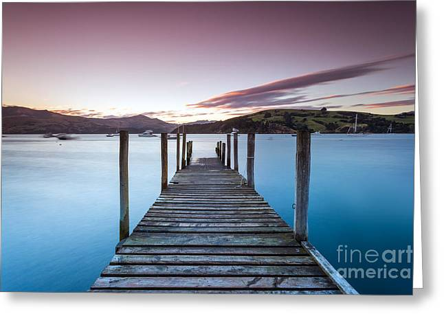 Sunset Posters Greeting Cards - Sunset over pier - Christchurch - New Zealand Greeting Card by Matteo Colombo