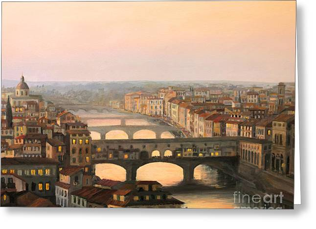 Skyline Paintings Greeting Cards - Sunset over ponte Vecchio in Florence Greeting Card by Kiril Stanchev