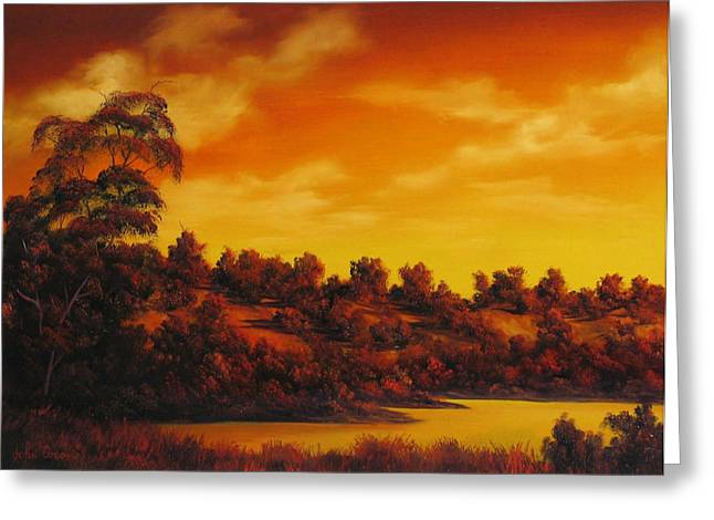 Oil Reliefs Greeting Cards - Sunset Over River Greeting Card by John Cocoris