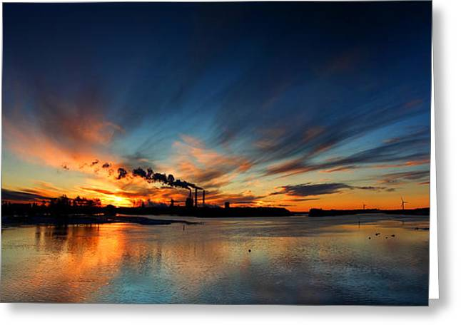 Industrial Background Greeting Cards - Sunset over sea in Oulu panorama Greeting Card by Sandra Rugina