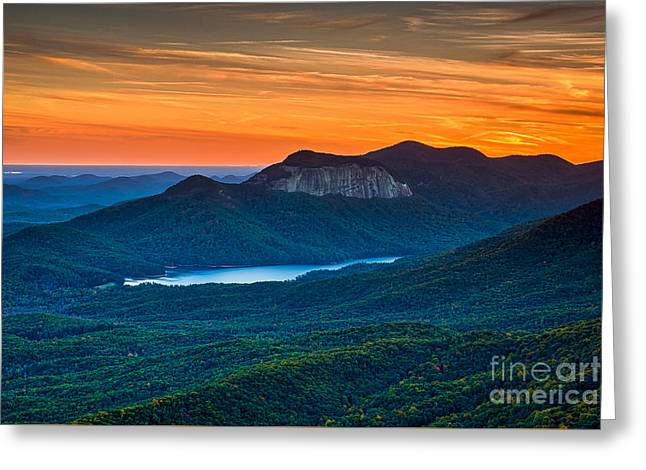 Sunset Over Table Rock From Caesars Head State Park South Carolina Greeting Card by T Lowry Wilson