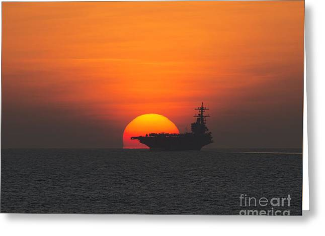 Strike Paintings Greeting Cards - Sunset over the aircraft carrier  Greeting Card by Celestial Images