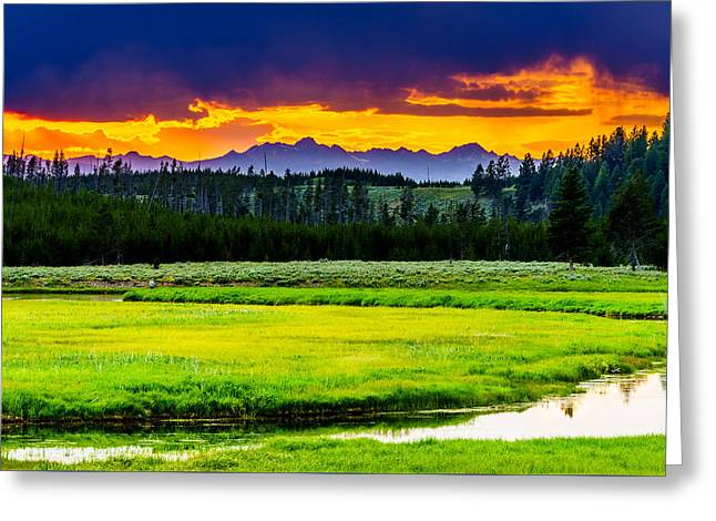 A Summer Evening Landscape Greeting Cards - Sunset Over the Bitterroots Greeting Card by TL  Mair