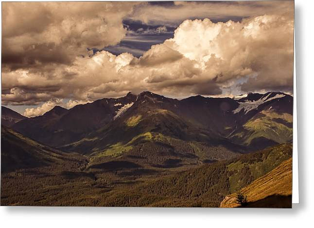 Snow Scene Landscape Greeting Cards - Sunset over the Chugach Greeting Card by Phyllis Taylor