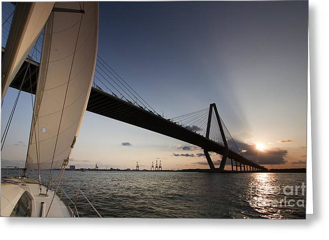 Sailboats In Harbor Greeting Cards - Sunset Over the Cooper River Bridge Charleston SC Greeting Card by Dustin K Ryan