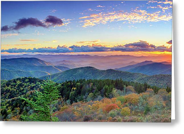 Sunset Over The Cowee Mountians Greeting Card by Stacy Redmon