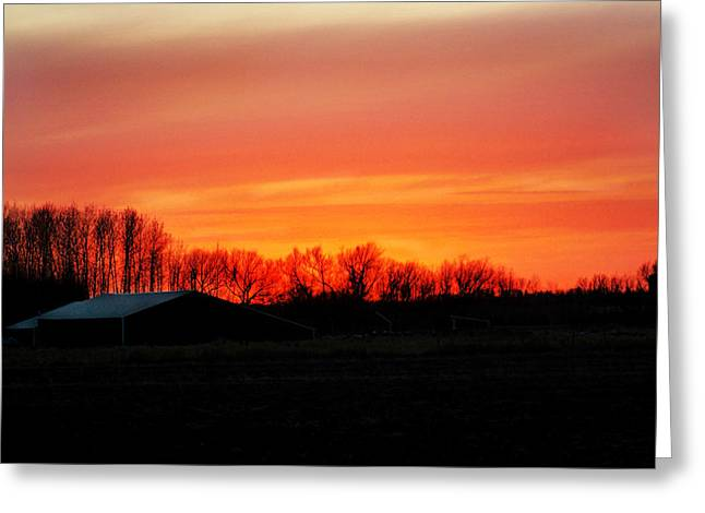 Barn Yard Greeting Cards - Sunset Over the Farm Greeting Card by Lisa Mesmer