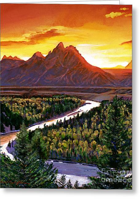 Snake River Greeting Cards - Sunset Over The Grand Tetons Greeting Card by David Lloyd Glover
