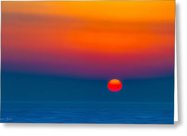 Original Art Photographs Greeting Cards - Sunset over the mediterranean  Greeting Card by Sharon Yanai