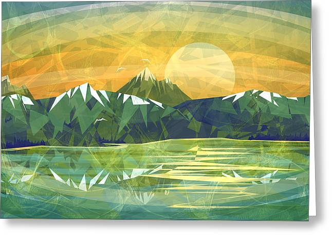 Abstract Minimalism Greeting Cards - Sunset over the mountain  Greeting Card by Anita Mihalyi