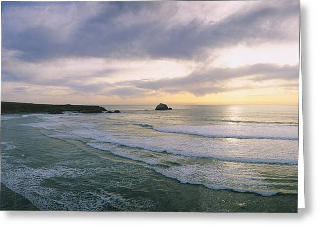 Sunset Over The Ocean, Big Sur Greeting Card by Panoramic Images