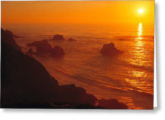 Big Sur Greeting Cards - Sunset over the Pacific Ocean Greeting Card by Utah Images