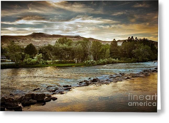 Haybale Greeting Cards - Sunset Over The Payette River Greeting Card by Robert Bales