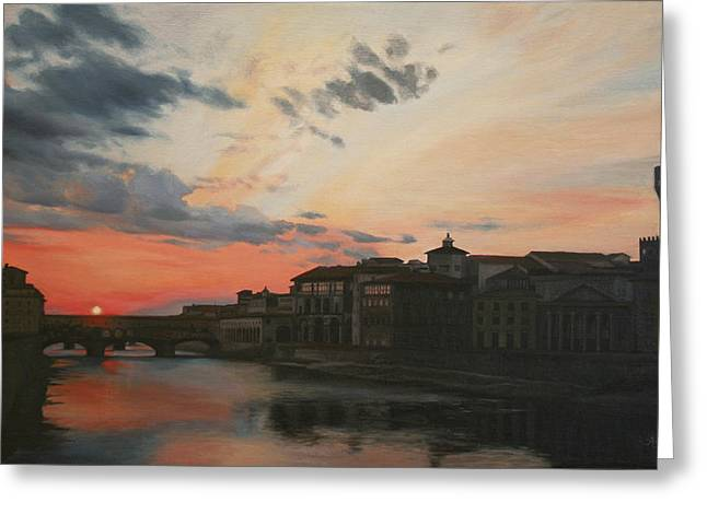 Florence Greeting Cards - Sunset Over the Ponte Vecchio Florence Italy Greeting Card by Anna Rose Bain