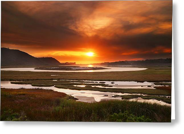 Exposure Greeting Cards - Sunset Over the San Elijo Lagoon Greeting Card by Larry Marshall