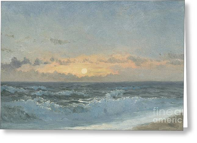 On The Beach Greeting Cards - Sunset over the Sea Greeting Card by William Pye
