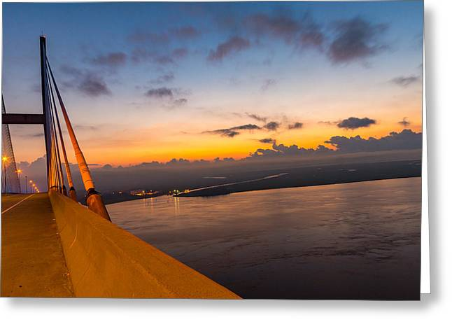 Mist Photographs Greeting Cards - Sunset over the Sidney Lanier Bridge Greeting Card by Chris Bordeleau