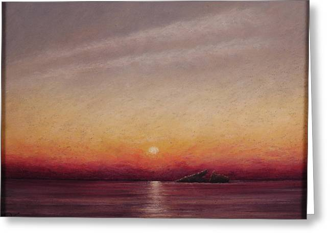 Atlantis Pastels Greeting Cards - Sunset Over the Sunken Ship Greeting Card by Deb Spinella