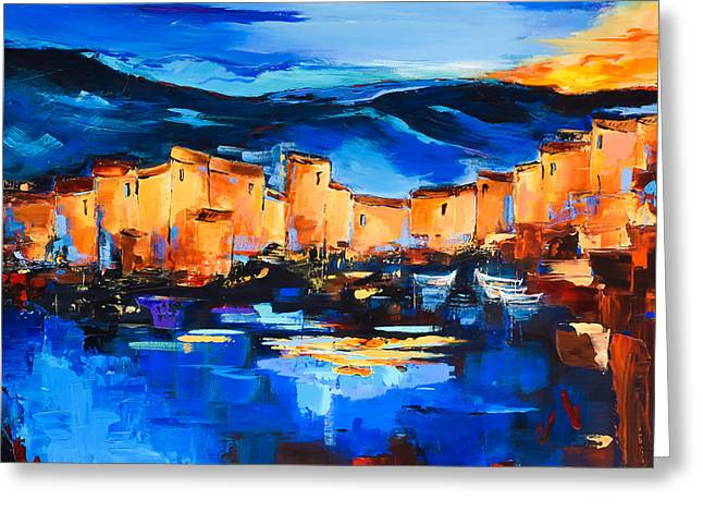 Village By The Sea Greeting Cards - Sunset Over the Village 2 Greeting Card by Elise Palmigiani