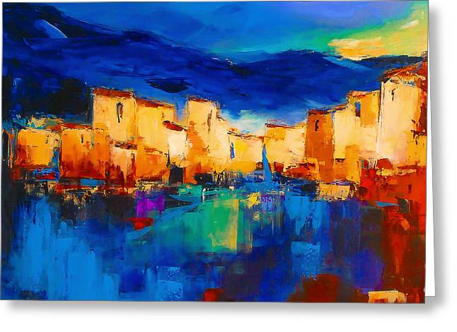 Skyline Paintings Greeting Cards - Sunset Over the Village Greeting Card by Elise Palmigiani
