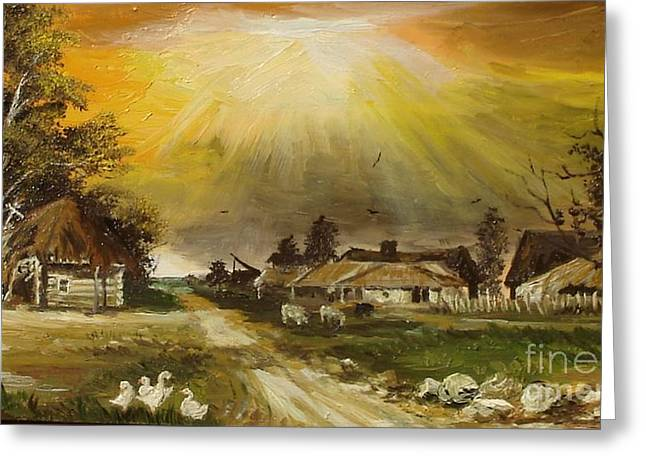 Sunset Framed Prints Greeting Cards - Sunset over the village Greeting Card by Sorin Apostolescu