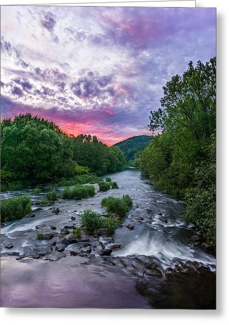 Stream Greeting Cards - Sunset over the Vistula in the Silesian Beskids Greeting Card by Dmytro Korol