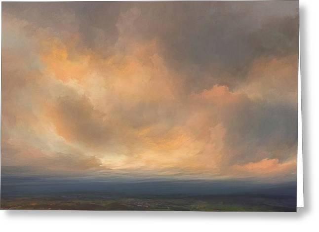 Sunset Over Valley Greeting Card by Lonnie Christopher
