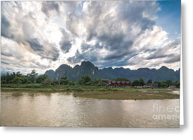 Surreal Landscape Greeting Cards - Sunset over Vang Vieng river in Laos Greeting Card by Didier Marti