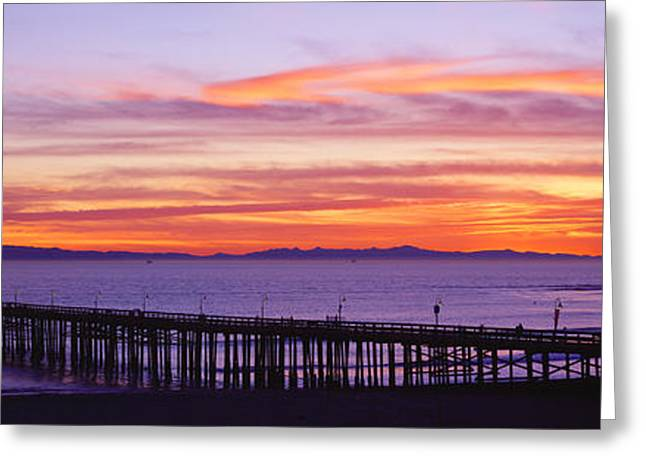 Sunset Over Ventura Pier Channel Greeting Card by Panoramic Images