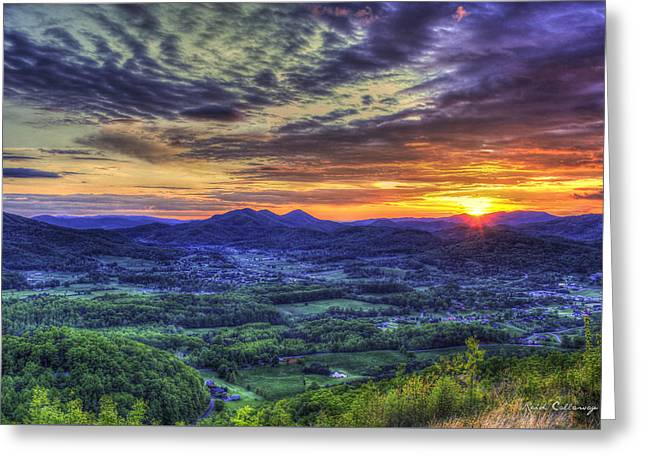Sunset Over Wears Valley Tennessee Mountain Art Greeting Card by Reid Callaway