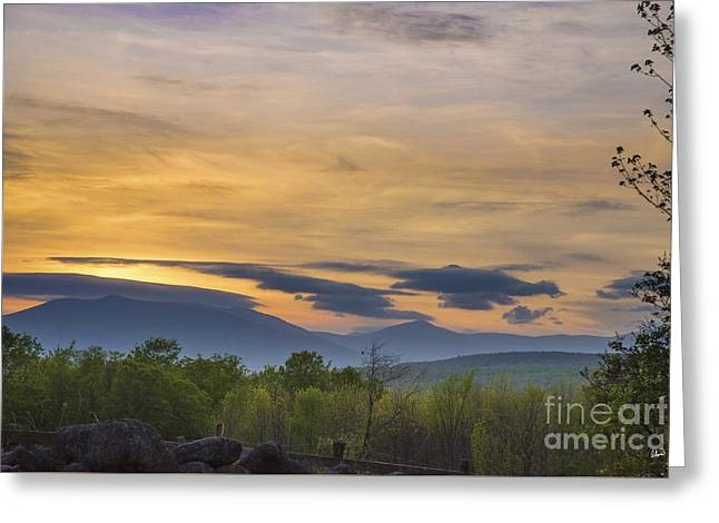 Award Greeting Cards - Sunset Over Western Maine Greeting Card by Alana Ranney