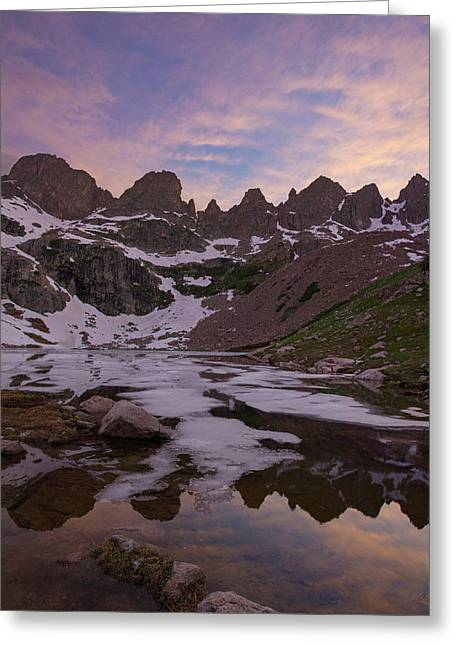 Sunset Over Willow Lake Greeting Card by Aaron Spong