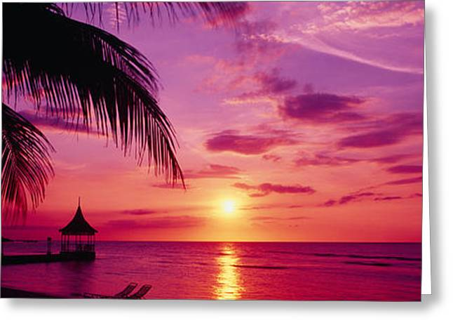 Cabanas Greeting Cards - Sunset, Palm Trees, Beach, Water Greeting Card by Panoramic Images