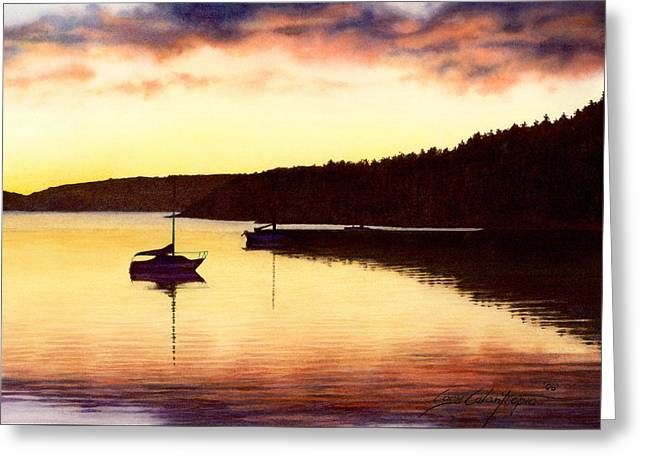 Photorealism Greeting Cards - Sunset Panorama Right Side Greeting Card by Cory Calantropio