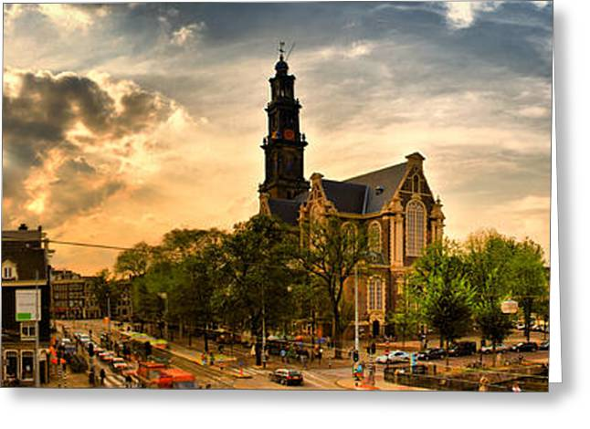 City Lights Greeting Cards - Sunset panorama with Westerkerk Greeting Card by Andrei SKY