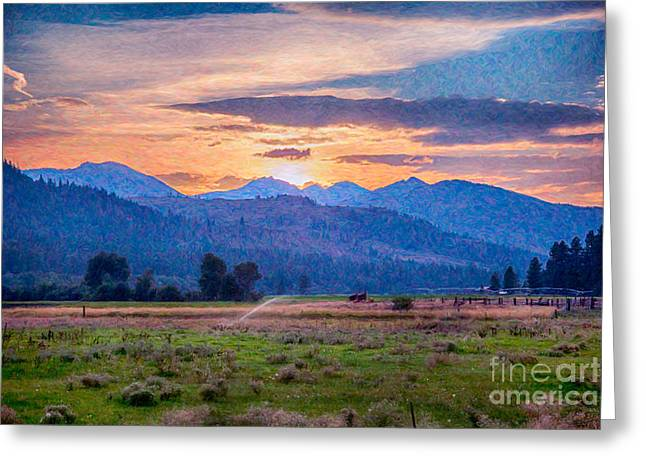 Sunset Pastures Abstract Landscape Art By Omaste Witkowski Greeting Card by Omaste Witkowski