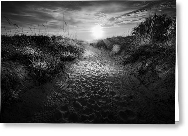 Sunset Path - Bw Greeting Card by Marvin Spates