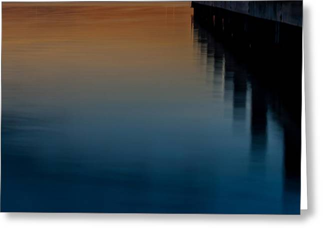 Reflecting Water Greeting Cards - Sunset Pier Abstract Greeting Card by Terry DeLuco