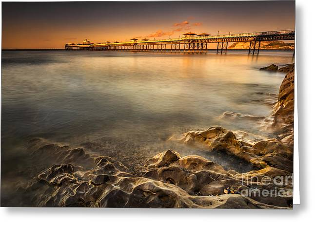 Sunset Pier Greeting Card by Adrian Evans