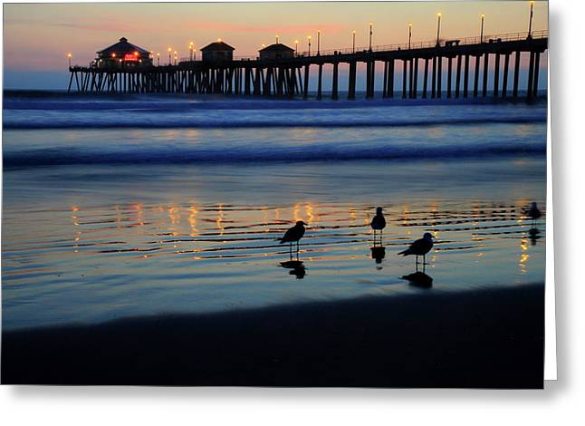Huntington Beach Greeting Cards - Sunset pier Greeting Card by Pierre Leclerc Photography