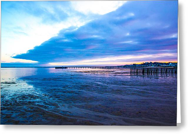 Storm Clouds Cape Cod Greeting Cards - Sunset Pier Pilings Greeting Card by Julia Fang