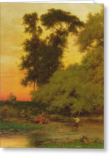 Sunset, Pompton, New Jersey Greeting Card by George Inness Snr
