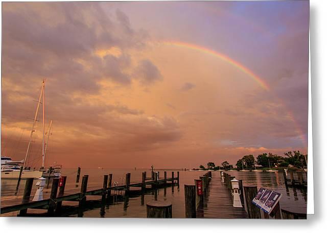 Sunset Rainbow Greeting Card by Jennifer Casey